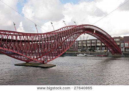 Pedestrian bridge in Amsterdam innercity in the Netherlands