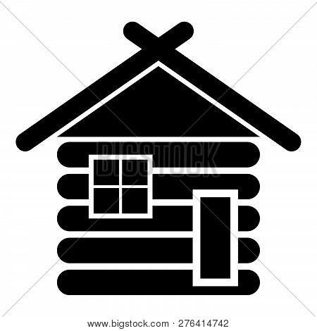 Wooden House Barn With Wood Modular Log Cabins Wood Cabin Modular Homes Icon Black Color Vector Illu