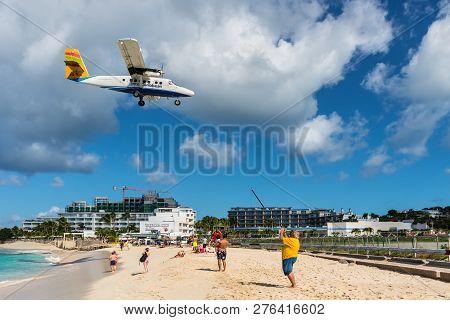 Simpson Bay, Saint Maarten - December 17, 2018: The De Havilland Canada Dhc-6-300 Twin Otter Airplan