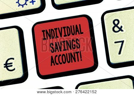 Word Writing Text Individual Savings Account. Business Concept For Savings Account Offered In The Un