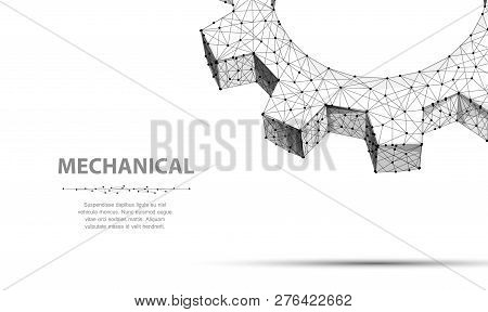 Gears. Closeup Abstract Vector Wireframe Two Gear. 3d Illustration Isolated On White.