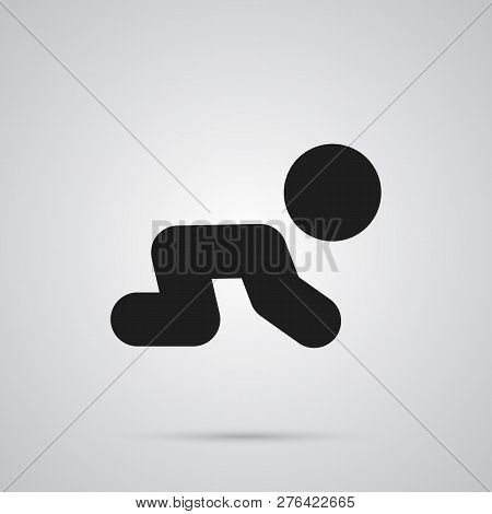 Isolated Crawling Kid Icon Symbol On Clean Background. Vector Creep Baby Element In Trendy Style.