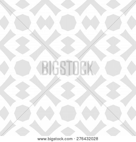 Vector Seamless Geometric Pattern. Subtle Abstract Texture With Simple Shapes, Crosses, Rhombuses, O