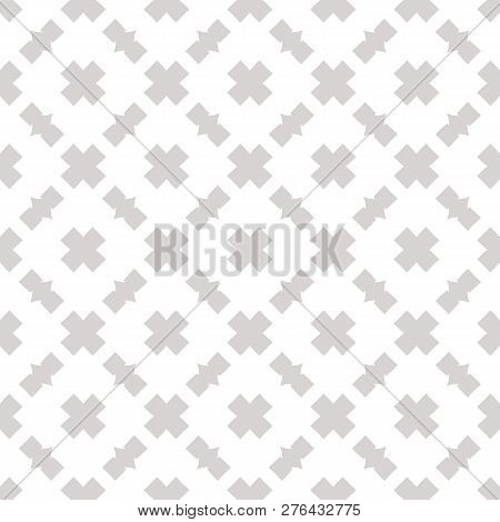 Subtle Vector Seamless Pattern. Abstract Geometric Texture With Square Grid, Net, Crosses. Simple Mi