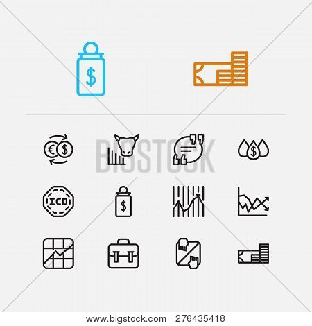Trading Icons Set. Stock Market And Trading Icons With Exchange, Bull Market And Dividend. Set Of Sa