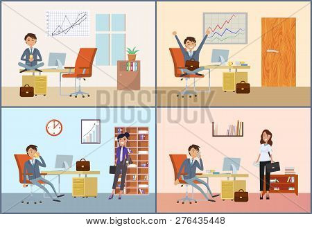 Businessman Having Appointment With Woman Client Vector. Person Working In Office, Break Of Director