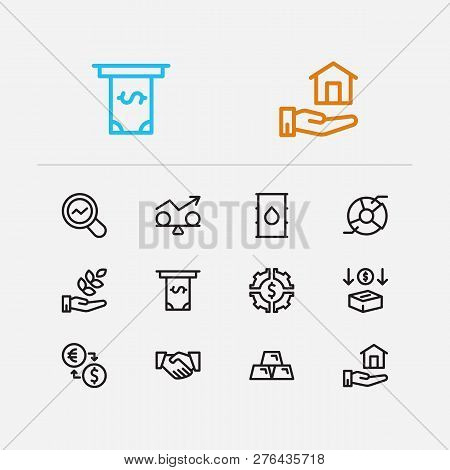 Capital Icons Set. Agriculture Investment And Capital Icons With Exchange, Investment Services And I