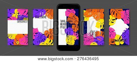 Tropic Template For Social Media Stories. Philodendron Leaf And Photo Frame. Tropical Screen Wallpap