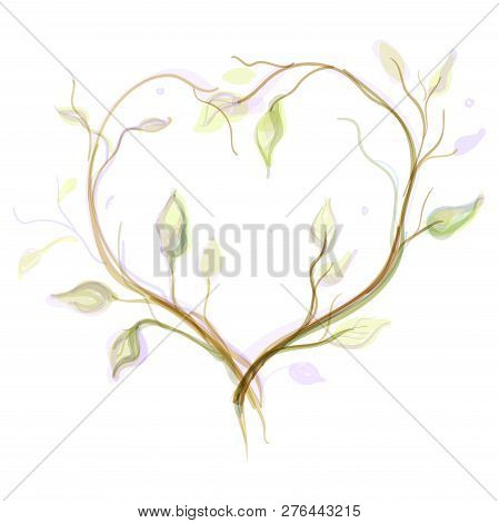 Artistic Frame In The Form Of Branches With Leaves Natural Frame For Postcards Painted Natural Frame