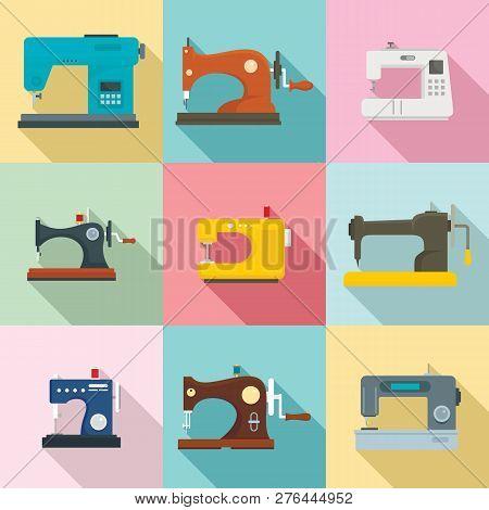 Sew Machine Icon Set. Flat Set Of Sew Machine Vector Icons For Web Design