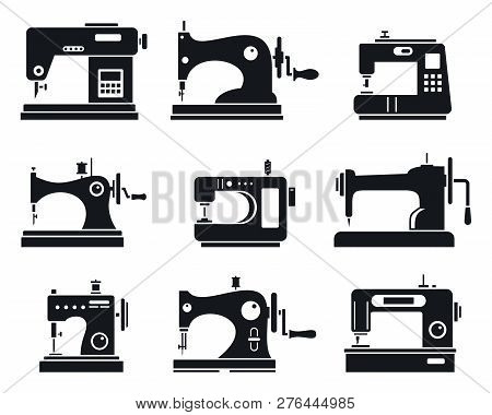 Quality Sew Machine Icon Set. Simple Set Of Quality Sew Machine Vector Icons For Web Design On White