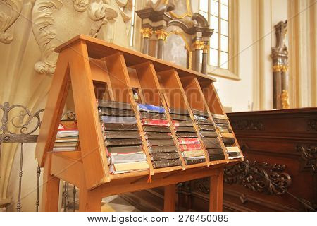 Hymn Books For Prayers In Church. The Bibles And Hymnals.
