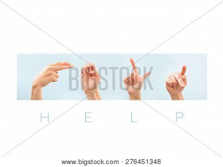 Help Word In American Sign Language For Deaf Mute People. Nonverbal Message.