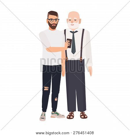 Grandson Demonstrating Smartphone To His Grandfather. Cute Smiling Elderly Man And Young Guy Spendin