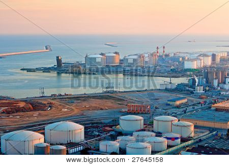 Lng Tanks At The Port Of Barcelona At Sunset