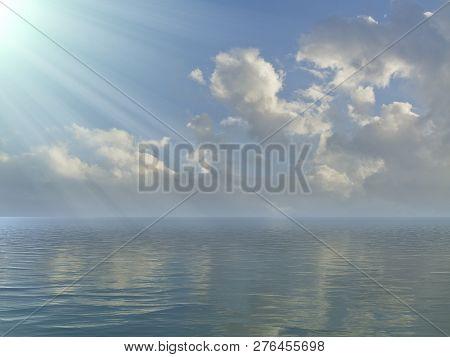 Calm Ocean, Sea Landscape, Seascape With Sea Horizon, Ocean View, Beautiful Sky And Blue Ocean.view
