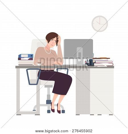 Unhappy Female Clerk Sitting At Desk. Sad, Tired Or Exhausted Woman At Office. Stressful Work, Stres