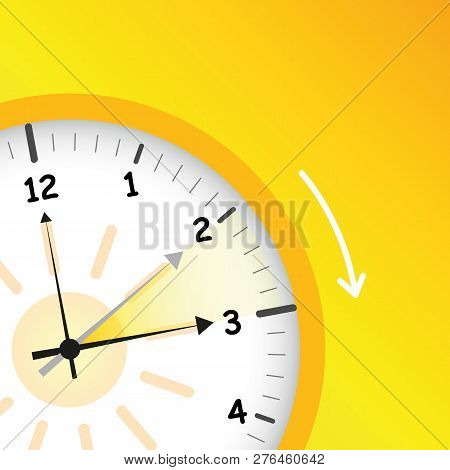 Summer Time Yellow Clock Standard Time After Advancing For Daylight Saving Time Vector Illustration