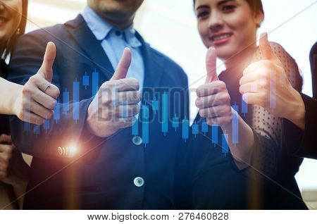 Close Up Of Hand Group Of Young Investor Business People Team In Suit Showing Thumbs Up As Like Sign