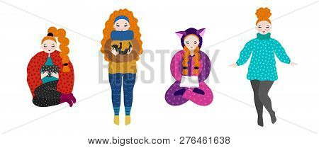 Girl In Warm Clothes Spending Autumn Or Winter Weekend At Home - Drink Tea, Play With Cat, Reading B