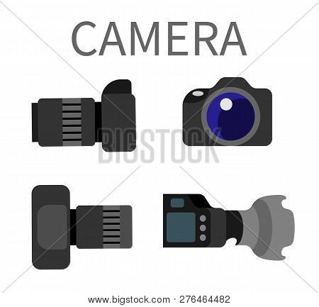 Digital Photocameras Set With Lens Isolated On White. Plastic Studio Photography Equipment With Zoom