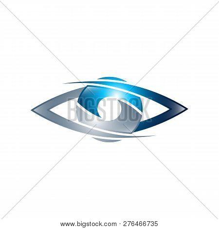 Technology Eye Orbit Web Rings Logo Design. Vector Circle Ring Logo Design. Abstract Circle Logo Tem
