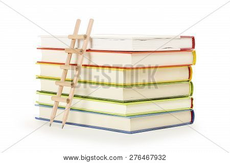 Pencil Ladder On Stack Of Books, Education Concept