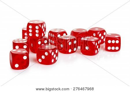 Number Of Red Dice Isolated On White