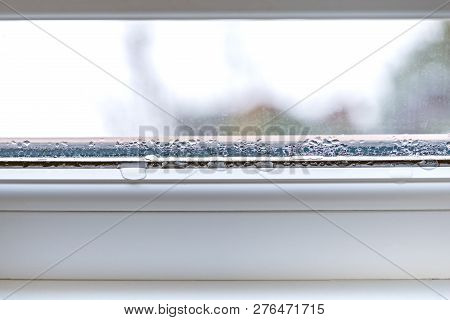 Condensation On Glass Closeup Pvc Windows Double Glazing