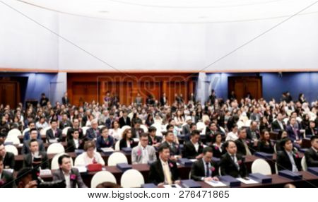 Blurred Meeting Room Business Big Hall Conference Background Many Seminar Room Attendee, Rear Audien