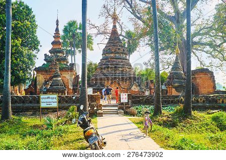 Ava, Myanmar - February 21, 2018: The Ancient Brick Complex Of Yadana Hsemee Pagoda (yandana Sinme)
