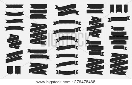 Classic Vintage Ribbons Banners Isolated On White Background. Black Tapes With Roughen Effect. Set O