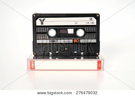 Prague, Czech Republic - November 29, 2018: Audio Compact Cassette Yoko 90. Audio Cassette On A Whit