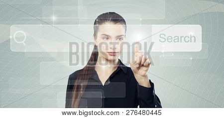 Young Business Woman Student With Empty Address Bar In Virtual Www Browser, Tech Background
