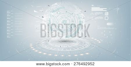 Grey White Abstract Technology Background With Various Technology Elements In Style Hud. Technology
