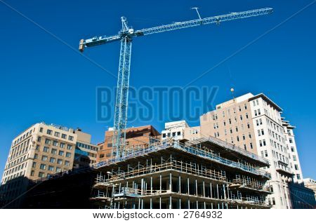 Active Construction Site With Crane