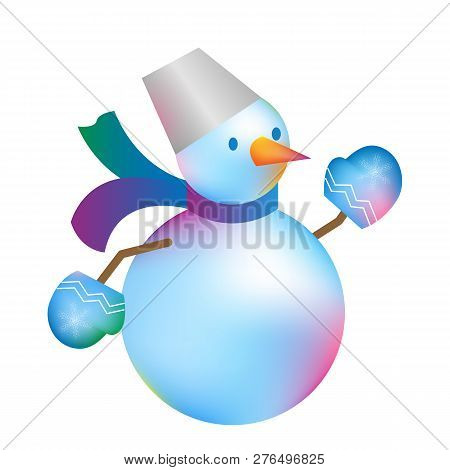 Christmas Snowman Isolated On White Blue Background. Winter  New Year Holiday Snowman. Cheerful Chri