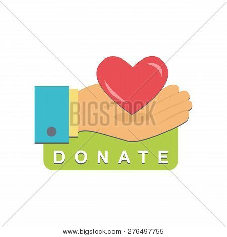 Donate Button With Hand, Heart. Help Red Green Sticker. Gift Charity. Isolated Support Design. Contr