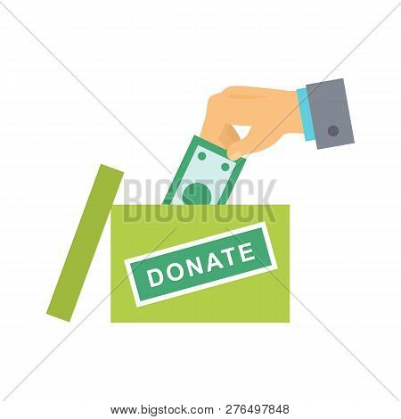 Donate Button With Hand, Box And Dollar Sign. Help Red Green Sticker. Gift Charity. Isolated Support