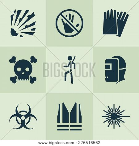 Protection Icons Set With Explosive, Caution, Hand Protection Nuclear Elements. Isolated Vector Illu