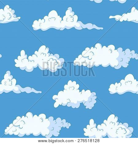 Cloud Vector Seamless Pattern. Fluffy Sky Drawing. Heaven Spring Wallpaper.