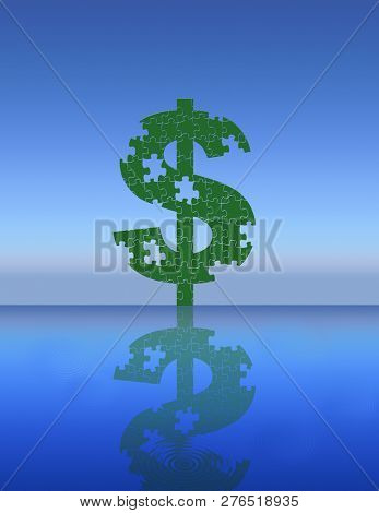 Dollar sign jigsaw puzzle with pieces. 3D rendering