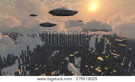 Flying saucers over futuristic megapolis. Sunset. 3D rendering