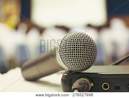 Close Up Old Microphone Wireless With Box Signal On The White Table In Business Conference Interior