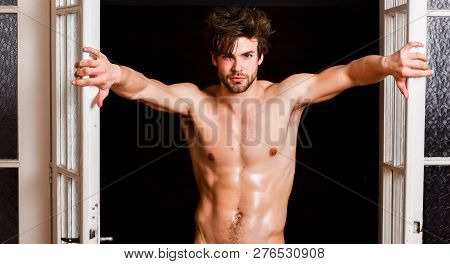 Guy Attractive Lover Posing Seductive. Seductive Lover Full Of Desire. Man Confident Lover Near Door