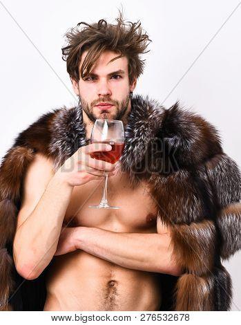 Guy Attractive Rich Posing Fur Coat On Naked Body. Rich Athlete Enjoy His Life. Sexy Sleepy Rich Mac