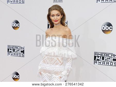 fashion model Jelena Noura Gigi Hadid at the 2016 American Music Awards held at the Microsoft Theater in Los Angeles, USA on November 20, 2016.
