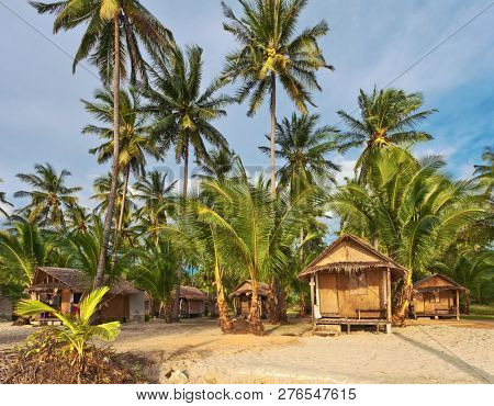 Cheap bungalows for backpackers on a tropical beach. Thailand