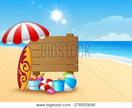 Summer Beach Background With Wooden Sign And Beach Equipment