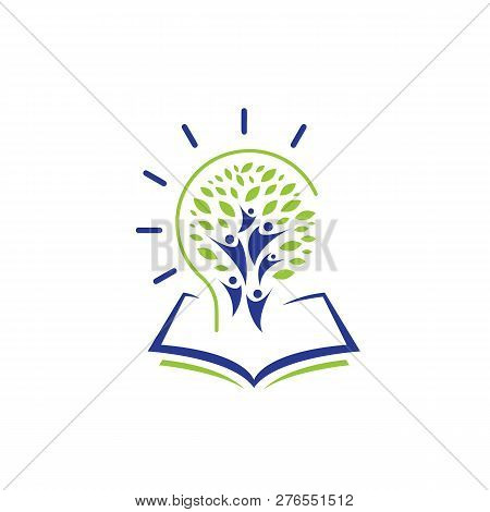 Education Logo With Open Book And Abstract Student Lines,stars And Circle Line, Open Book Logo Conce